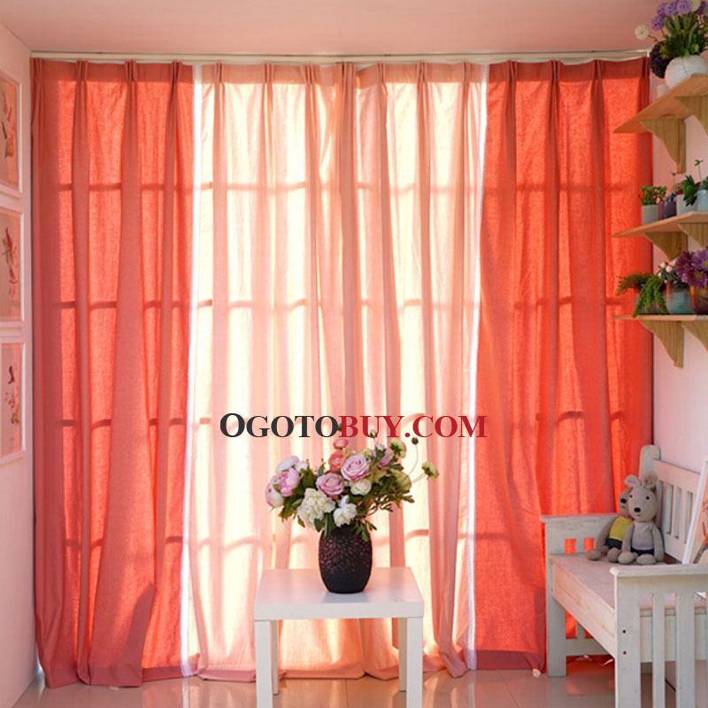 Loading Zoom. Pure Orange Linen Fabric Simple Modern Curtain ...