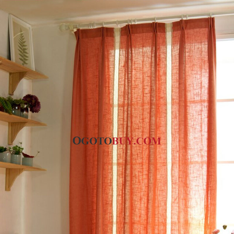 Dark Orange Linen Fabric Well-selected Concise Modern Curtain