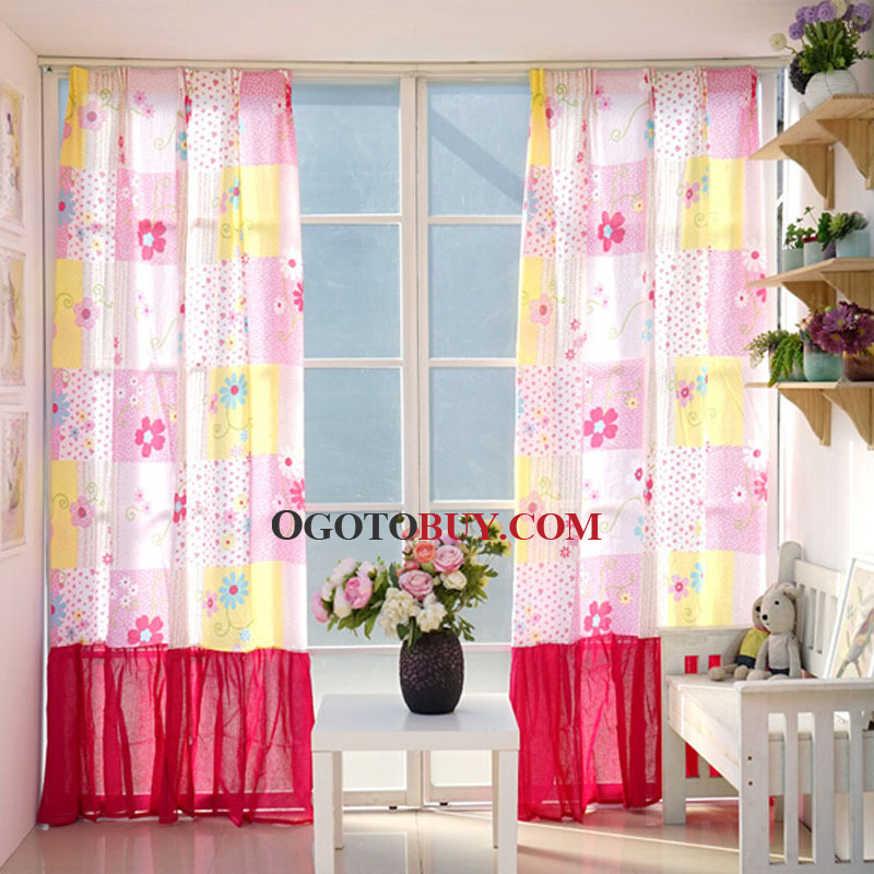 Fashionable Stitching Plaid and Floral Country Style kids Curtain