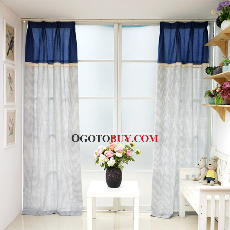 Navy Blue Striped Pattern Quality Natural Linen Fabric Country ...