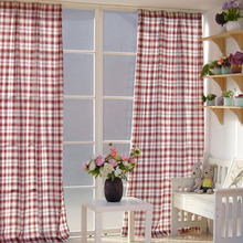 Classical British Style Plaid Pattern Kids Curtain in Cotton Material