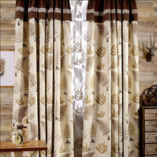 Coffee Color Leaves Pattern Country Style Polyester Room Darkening Curtain