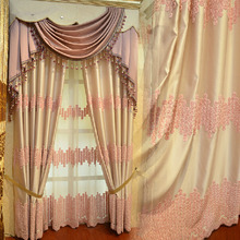 Sweet Pink Embossed Floral Pattern Beige Chenille Princess Style Kids Curtain