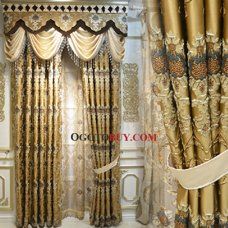 Elite Luxury Gold Color Cotton Poly Blend Fabric Living Room Curtain No Valance