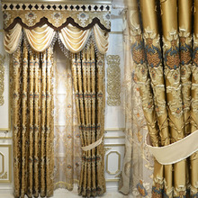 Luxury Gold Color Cotton/Poly Blend Fabric Living Room Curtain