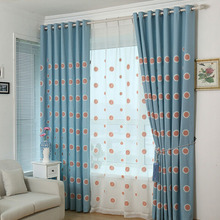 Blue Cotton Privacy Kids Curtain Embroidered with Sunflower Pattern