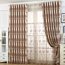 Embroidery Flower Pattern Luxury Beige Damask Fabric Floral Curtain