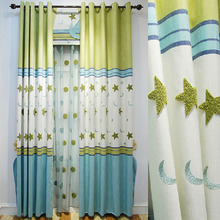 Bud Green and Blue Linen/Cotton Blend Fabric Star Pattern Kids Curtain