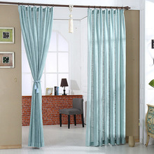 Light Blue Eco-friendly Linen Simple Design Sheer Curtain