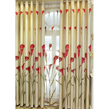 Beautiful Red Floral Pattern Beige Linen and Cotton Blend Country Curtain