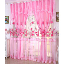 Romantic Pink Embroidered Lace Fabric Princess Kids Curtain