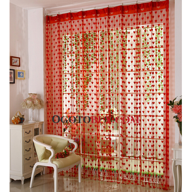 Festival Red Yarn Fabric Sheer Curtain Embroidered with Sweetheart ...