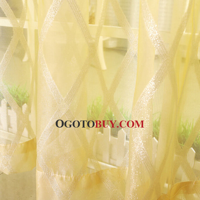 Bright Yellow Polyester Plaid Pattern Sheer Curtain, Buy Yellow ...