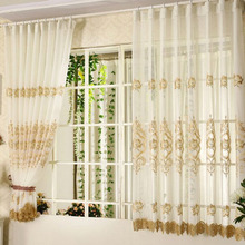Pastoral Coffee Floral Pattern Beige Linen Sheer Curtain of Bay Window Curtain