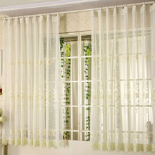 Elegant Beige Linen Fabric Bay Window Curtain Embroidered with Floral Pattern