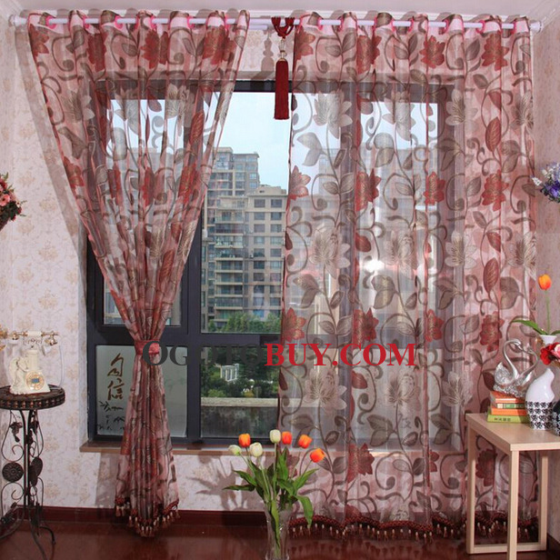 Exquisite Red Floral Jacquard Craft Decorative Sheer Curtain, Buy ...