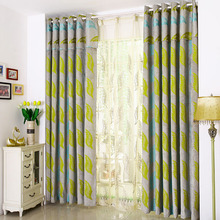 American Country Style Living Room Curtain Flocked With Leaf Pattern
