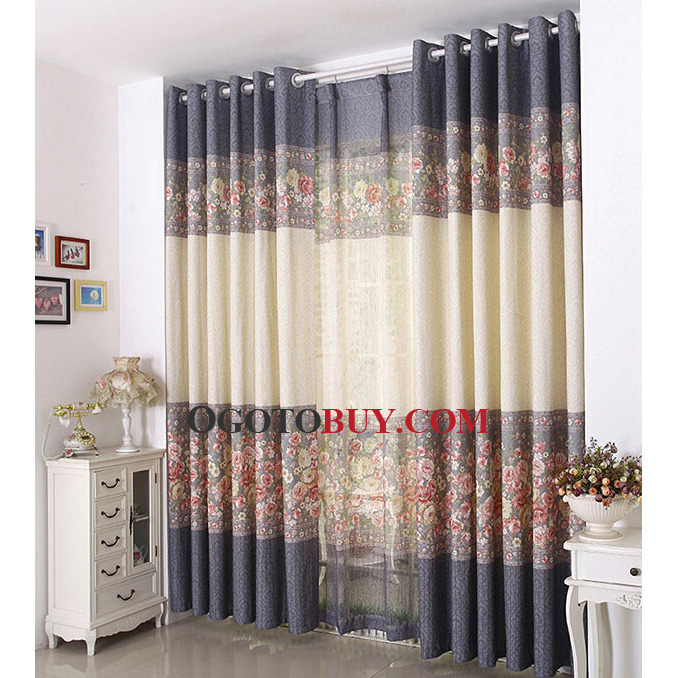 Country Curtains country curtains on sale : Dark Gray and Beige Linen/Cotton Eco-friendly Fabric Country ...