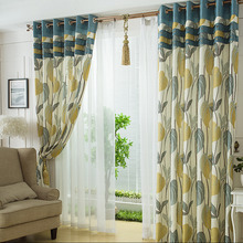 Fresh Tropical Leaf Pattern Linen Material Printed Country Curtain