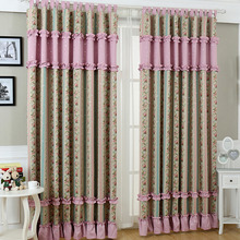 American Romantic Country Style Gray and Pink Floral Pattern kids Curtain