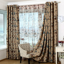 Vintage Polyester Fabric Printed Floral Country Curtain