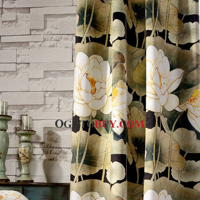 Vintage Lotus Printed Floral Thick Velvet Fabric Thermal Blackout Curtain