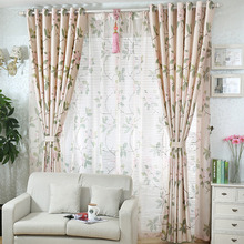 Decorative Beige Color Linen/Cotton Blend Fabric Floral Curtain