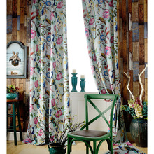 American Country Style Living Room Curtain Printed with Amazing Peacock and Floral Patterns