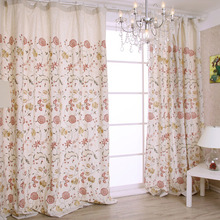 Light Beige Linen and Poly Blend Fabric Embroidered Floral Country Curtain