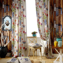 Contemporary Classical Porcelain and Floral Printed Pattern Velvet Living Room Curtain