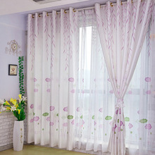 Romantic Lavender Lotus and Leaf Patterns Polyester Fabric Cheap Curtain