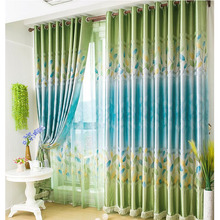 Dreamy Blue and Green Polyester Insulated Cheap Curtain