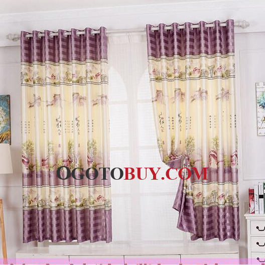 Decorative Beige and Purple Polyester Country Style Bay Window ...