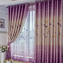 Sweetheart Printed Pattern Dreamy Romantic Polyester Purple Curtain