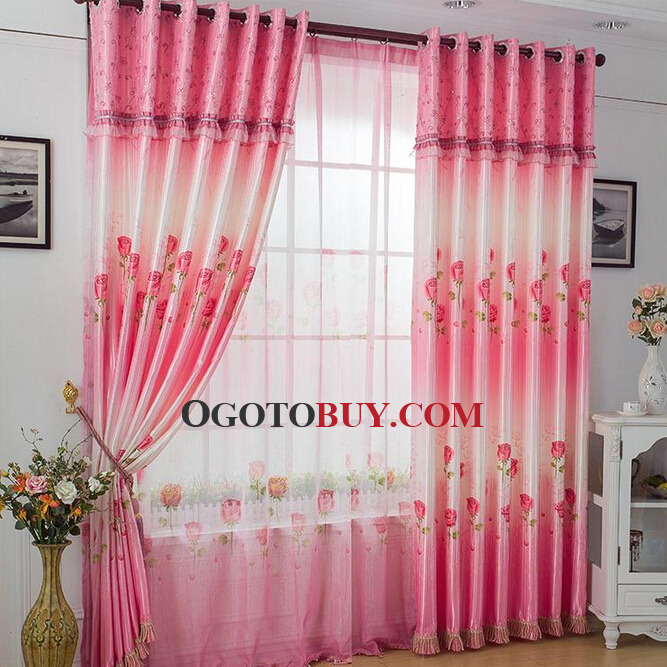 Curtains Ideas curtains for cheap : Rose Printed On Bright Pink Polyester Light Absorption Cheap ...