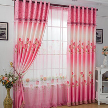 Rose Printed On Bright Pink Polyester Light Absorption Cheap Curtain (No Included Valance)