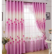 Romantic Rose Pattern Polyester Fabric In Purple Color Cheap Curtain