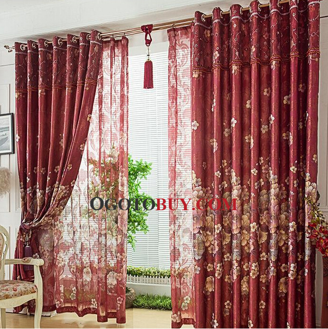 living room curtains cheap. Loading zoom  Luxury Burgundy Faux Silk Jacquard Floral Living Room Curtain No