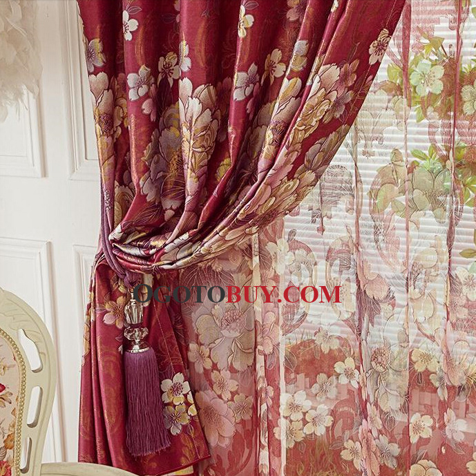 Luxury Burgundy Faux Silk Jacquard Floral Living Room Curtain No Valance