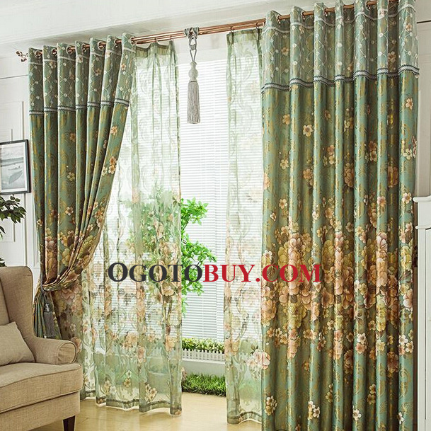 Charming Loading Zoom. High Quality Jacquard Floral Faux Silk Material Living Room  Curtain ... Part 16