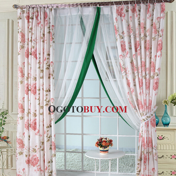 Beautiful Printed Floral Curtain in White Color Linen/Polyester ...