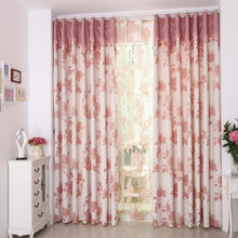 Eco-friendly Cotton/Linen Blend Fabric Embroidered Pattern Floral Curtain (No Valance)