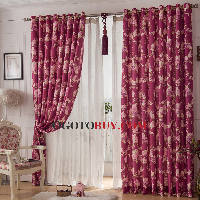Curtains Ideas burgundy color curtains : Beautiful Floral Curtain in Burgundy Color Polyester Material ...