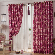 Beautiful Floral Curtain in Burgundy Color Polyester Material Window Treatment