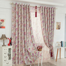 Beautiful Double-side Printed Floral Curtain In Purple and Pink Color