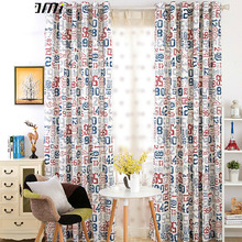 Fun Number Pattern Red and Blue Poly/Cotton Blend Kids Curtains