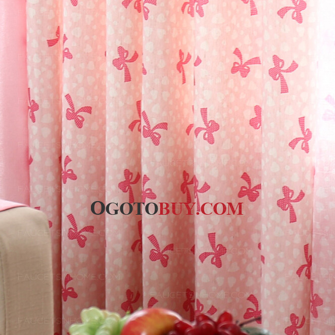 Lovely Pink Cotton/Linen Fabric Kids Curtain Printed with Bow-knot ...