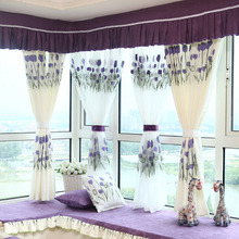 Decorative Tulip Floral Pattern In Lilac Color Bay Window Curtain (No Valance)