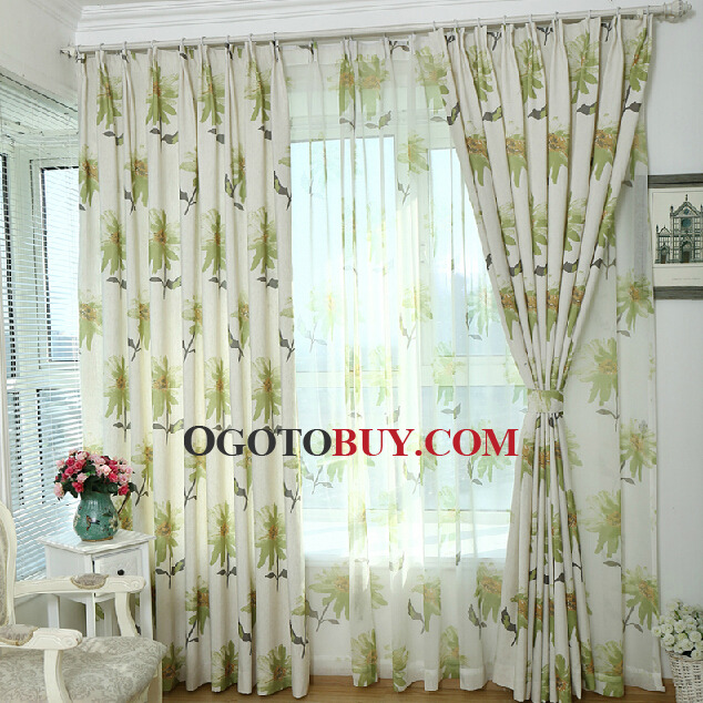 Country Curtains country curtains on sale : Decorative Bud Green Floral Pattern Cotton/Linen American Country ...