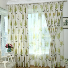 Decorative Bud Green Floral Pattern Cotton/Linen American Country Curtain